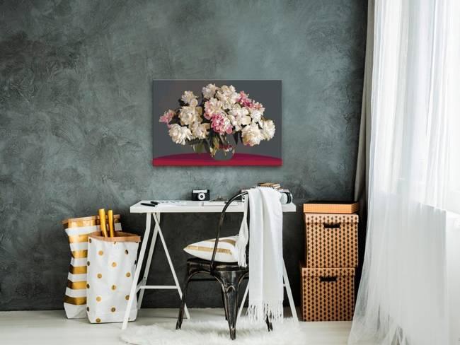 Obraz do samodzielnego malowania - Białe kwiaty w wazonie