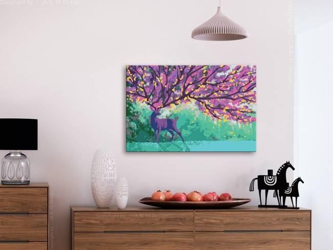 Obraz do samodzielnego malowania - Fioletowy jeleń