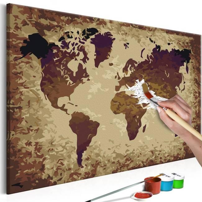 Obraz do samodzielnego malowania - Mapa świata (brązy)
