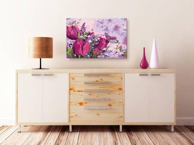 Obraz do samodzielnego malowania - Tulipany (łąka)