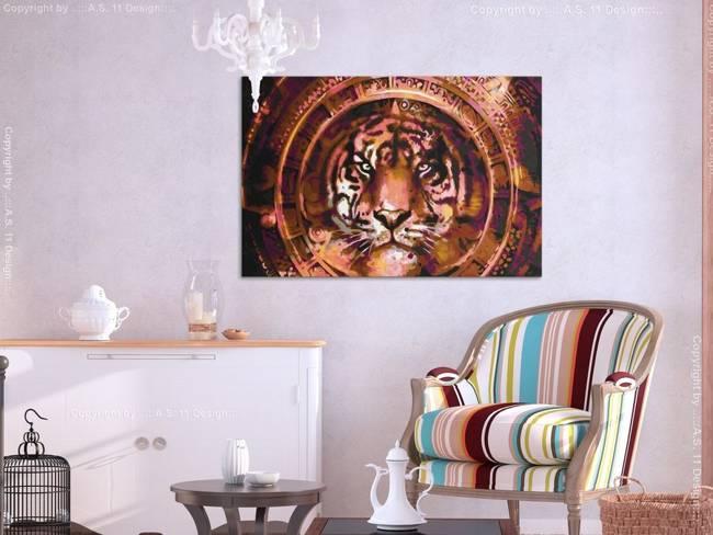 Obraz do samodzielnego malowania - Tygrys i ornamenty