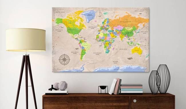 Obraz na korku - Maps: Vintage Style [Mapa korkowa]