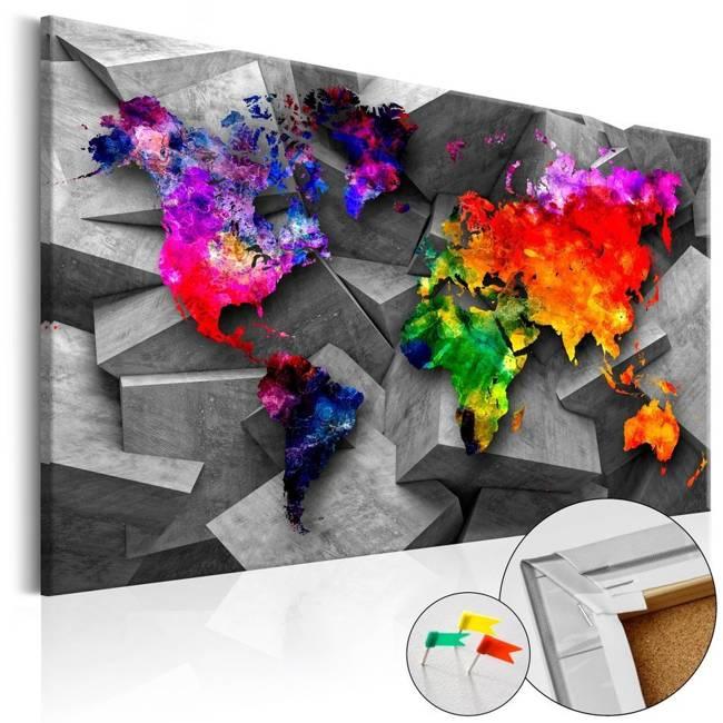 Obraz na korku - Sześcienny świat [Mapa korkowa]