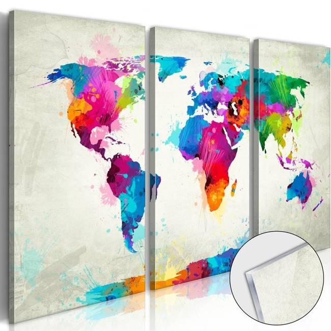 Obraz na szkle akrylowym - Mapa świata: Eksplozja kolorów [Glass]