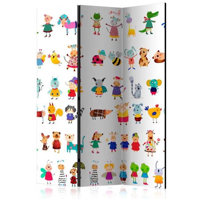 Parawan 3-częściowy - Zwierzątka z kreskówek [Room Dividers]