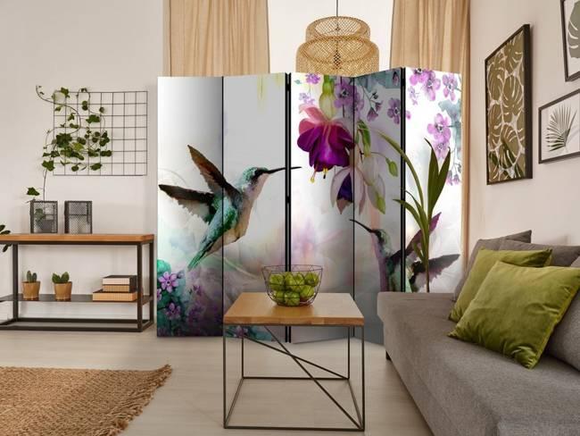 Parawan 5-częściowy - Kolibry i kwiaty II [Room Dividers]