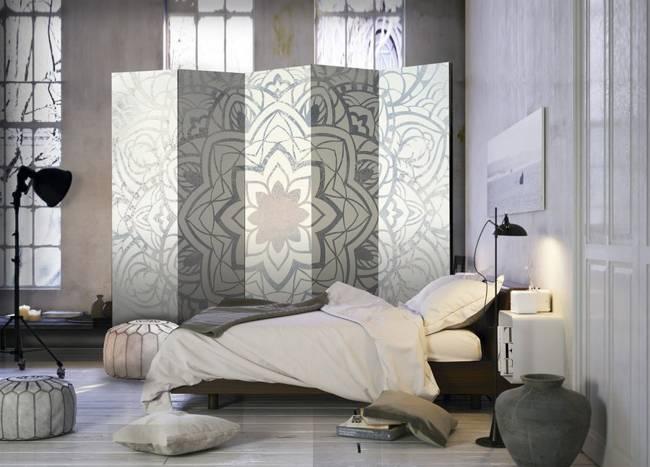 Parawan 5-częściowy - Zimowa mandala II [Room Dividers]