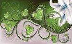 Fototapeta Lilia z sercami na zielonym tle 705