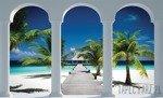 Fototapeta Widok na plażę przez kolumny 2360