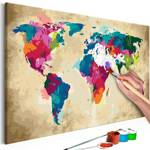 Obraz do samodzielnego malowania - Mapa świata (kolorowa)